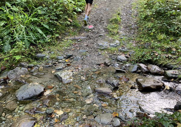 Crossing a tiny mountain creek