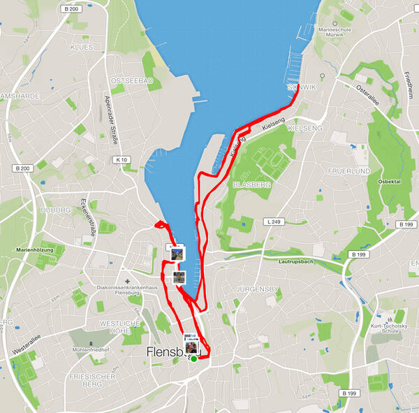 The course map tracking from Flensburg