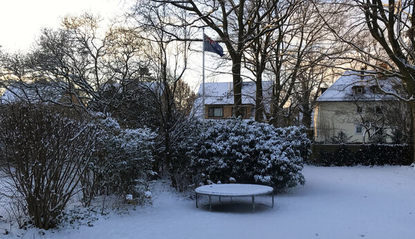 From 30 degrees in Dubai to -15 in Hamburg. Our New Zealand flag still flies.