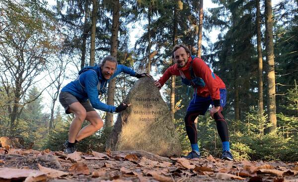 Finally, I ran to Hamburg's highest point, Hasselbrack at 116 meters above zero – with Philippe