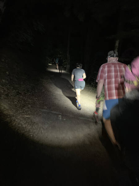 Doing the first lap in the dark – headlamps mandatory
