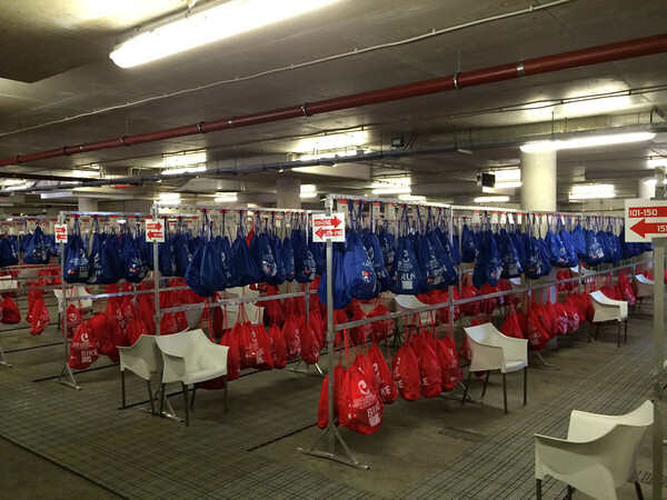 Lots of biking equipment in those blue bags, lots of running equipment in the red ones