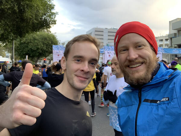Highlight: meeting Michael from Cologne by chance – he is/was also collecting EU marathon finishes